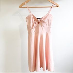 Peachy pink tie front cami skater skirt dress